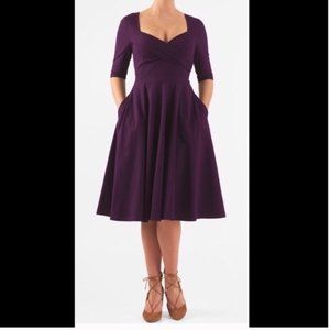 Eshakti Fit Flare Midi Dress Flowy Pockets Purple